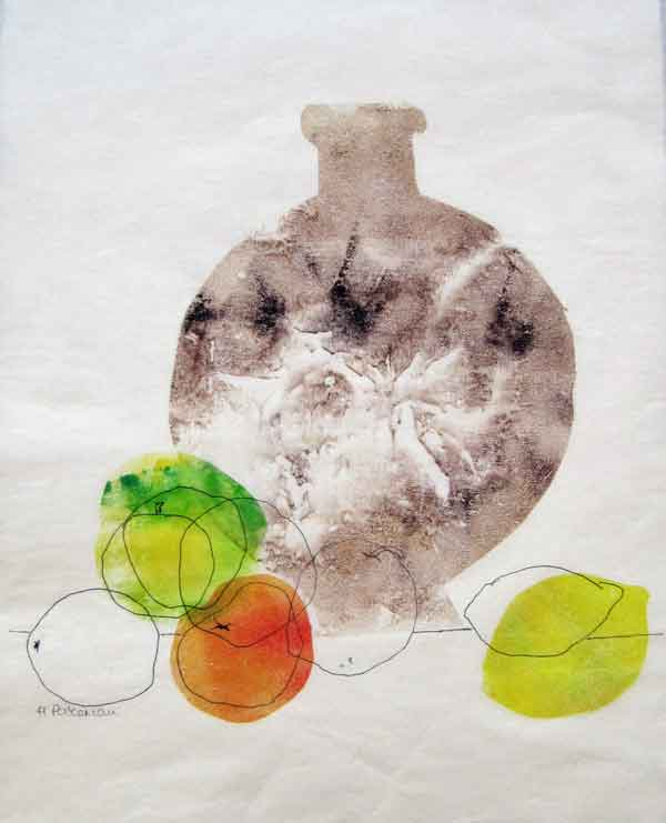 Helen Pakeman 'Fruit with stone bottle'