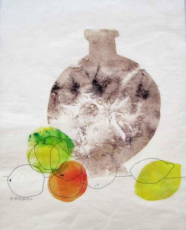 Helen Pakeman 'Fruit with stone bottle'