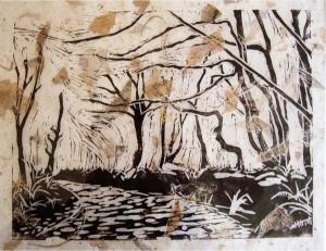 Helen Pakeman 'Windy Trees' linocut